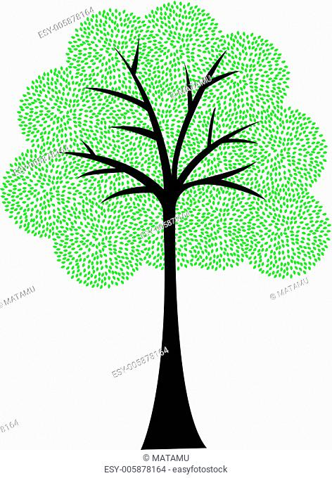 Art tree silhouette isolated on white background