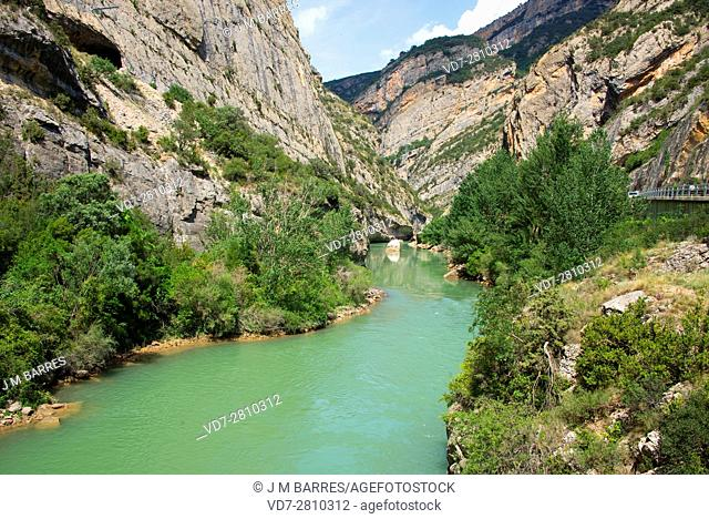 Noguera Pallaresa middle river course in Terradets coomb, Lleida, Catalonia, Spain