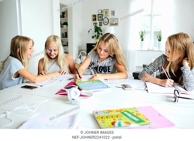 Girls learning together