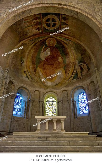 Western apse with its late 12th C. fresco of Christ in Glory in the Nevers Cathedral / Cathédrale Saint-Cyr-et-Sainte-Julitte de Nevers, Burgundy, France