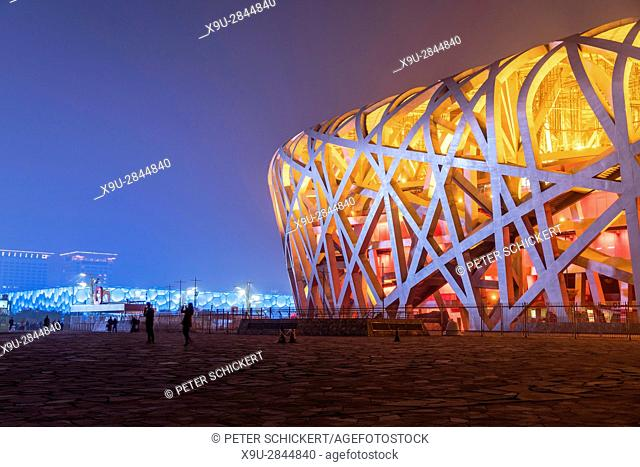 National Stadium at dusk, Olympic Park Beijing, People's Republic of China, Asia