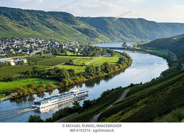 Cruise ship on the Moselle river, near Wintrich, Moselle Valley, Rhineland-Palatinate, Germany