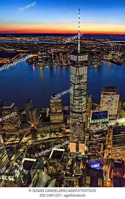 World Trade Center WTC From High Above - Aerial view facing the western sky during the last light after sunset, with One World Trade Center WTC along with the...