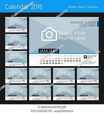 Desk Calendar 2016. Vector Print Template with Place for Photo. Set of 12 Months. Week Starts Sunday
