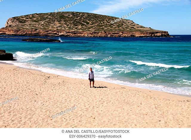 Cala Comta Ibiza coast Balearic islands Spain