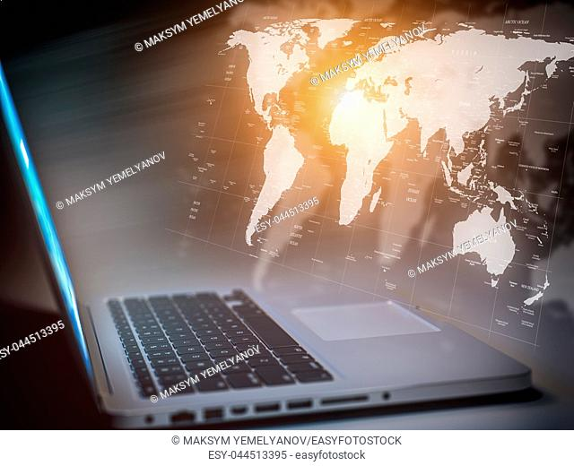 Global comuunication, network connection, computer and internet technology hud concept. Laptop with map of the world. 3d illustration