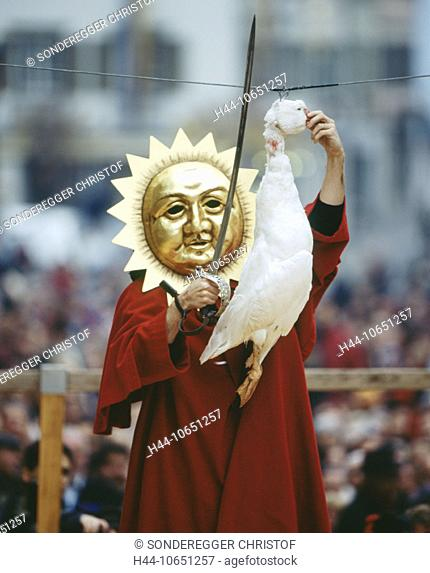 10651257, custom, tradition, party, fête, folklore, goose, Gansabhauet, canton Lucerne, head beat off, decapitate, man, mask