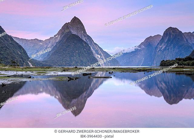 Mitre Peak at dawn, Fiordland National Park, Milford Sound, South Island, New Zealand