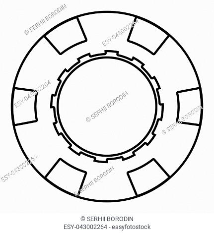 Casino chip icon black color vector illustration flat style simple image