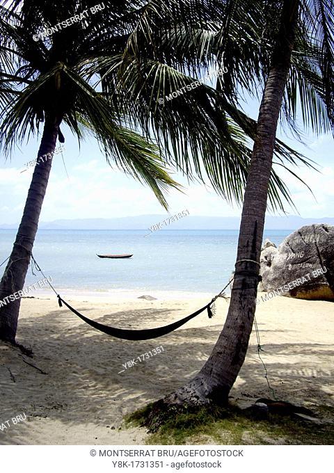 Tropical white sand beach with hammock tied to two palmtrees near Ban Tai, Koh Phangan, Thailand