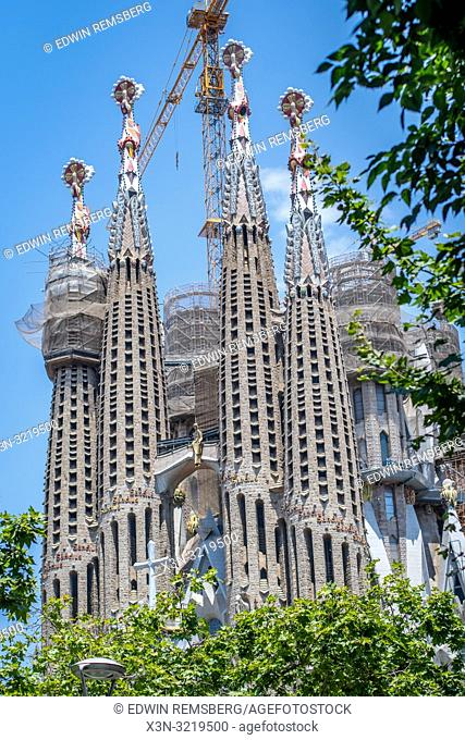 Long Range View - Front Pillars of Temple Expiatori de la Sagrada Família, Barcelona, Spain
