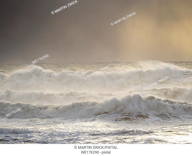 The coast of the north atlantic near Vik y Myrdal during winter. Storm at beach Reynisfjara. Europe, Northern Europe, Scandinavia, Iceland, February