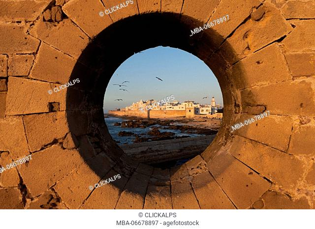 Essaouira, Morocco, North Africa. Sunset from the walls