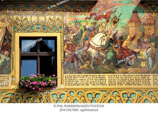 Ulm, Baden Wurttemberg, Germany. Rathaus (Town Hall - 16thC; original frescos 1540)