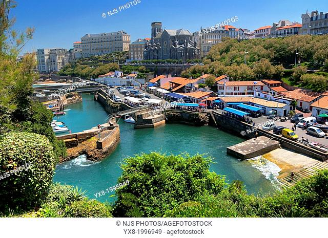 Church of Sainte Eugenie, Fishing port, Old Port, Basque Coast, Biarritz, Aquitaine, Basque Country, Pyrenees Atlantiques, 64, France