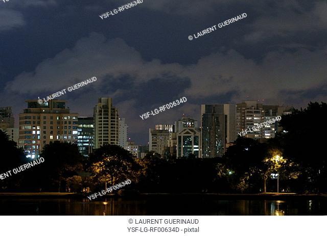 Lake, Night, Ibirapuera Park, São Paulo, Brazil
