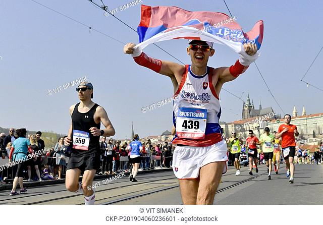 Runners compete during the Prague Half Marathon in Prague, Czech Republic, Saturday, April 6, 2019. (CTK Photo/Vit Simanek)