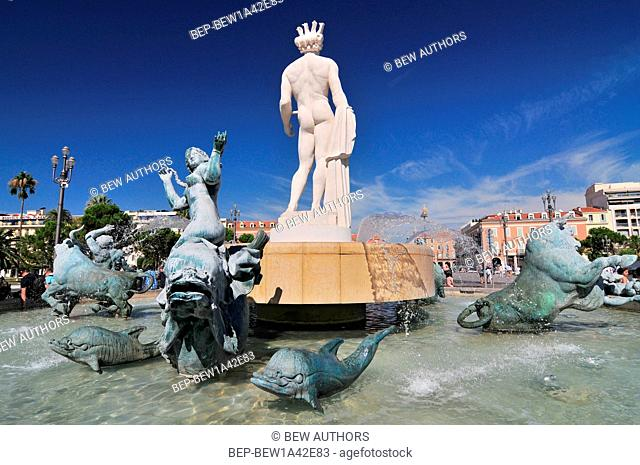 Famous Fontaine du Soleil (Fountain of the Sun) in Place Massena in Nice, France
