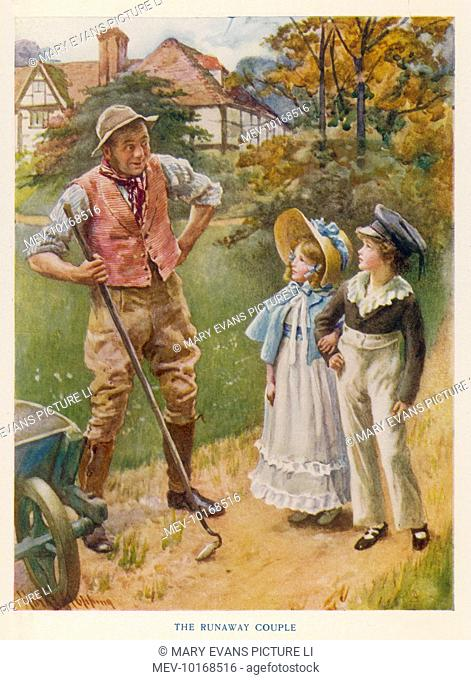 Illustration to The Holly Tree by Charles Dickens. Cobbs the gardener puts his hand on his hips as he asks young Master Harry and Miss Norah why they are...