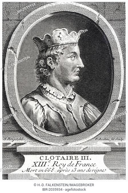 Historical steel engraving from the 19th Century, portrait, Chlothar III or Clotaire III, King of the Franks from the house of the Merovingians, 7th Century