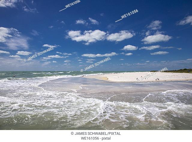 Sand beach with birds on the southern tip of Egmont Key State Park in the Gulf of Mexico on the west coast of Florida