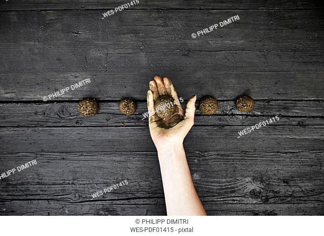 Woman's hand holding seed bomb