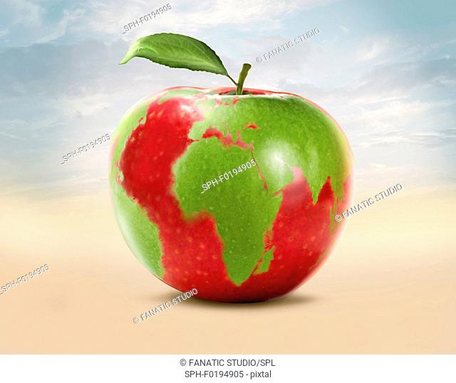 Illustration of an apple with world map