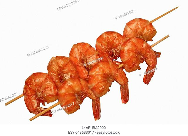 Many Grilled Red King Size Shrimps On Wooden Skewer Isolated On White, Close Up, Top View