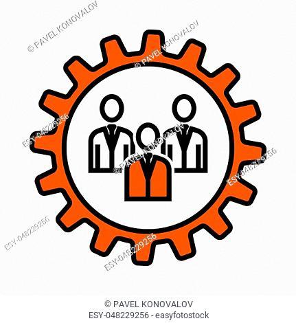 Teamwork Icon. Thin Line With Orange Fill Design. Vector Illustration