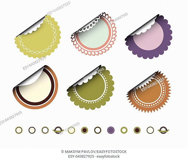 Collection of round vintage labels with curved edges. Vector set on white background