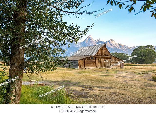 Famous T. A. Moulton Barn rests in front of Teton Mountain Range, Grand Tetons National Park, Teton County, Wyoming. USA