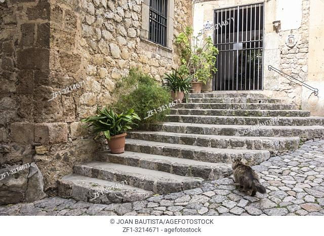 Ancient street view, village of Valldemossa, Majorca Island, Spain