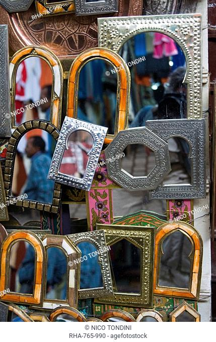 Mirrors for sale in the souk, Marrakech Marrakesh, Morocco, North Africa, Africa
