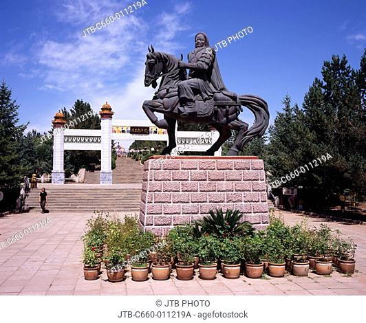 Genghis Khan statue Genghis Khan -- Imperial mausoleum Eerduosi City Inner Mongolia China Potted plant