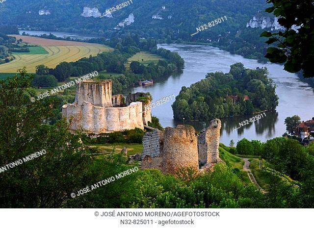 Meander of Seine river and Galliard Castle Château-Gaillard, Les Andelys Seine valley, Normandy, France