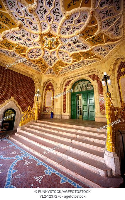 The entrance hall of Art Nouveau Museum of Applied Arts with Zolnay tiles & ceramic hand rails  Budapest Hungary