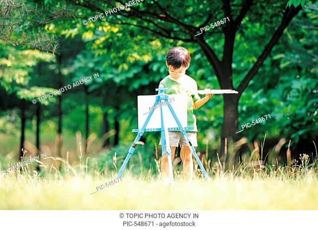 Boy Painting On Canvas,Korean