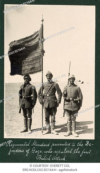 World War I, Regimental Standard presented to the defenders of Gaza, who who repulsed the first British attack, Palestine, photograph circa 1914-1918