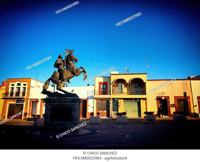 The sculpture of Saint James Apostle decorates a street in Santiago de Queretaro, Mexico