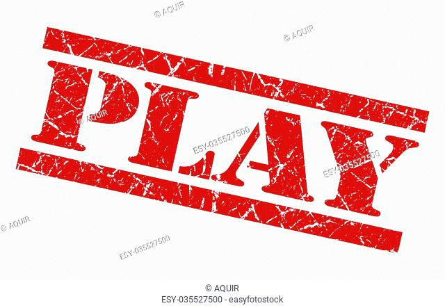 play red grunge stamp isolated on white