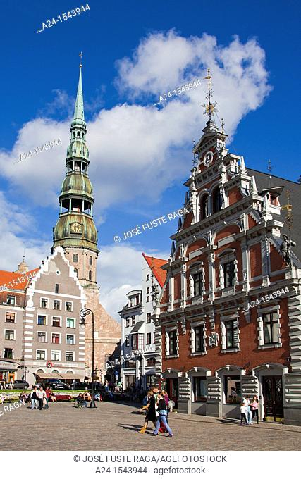 Letonia Latvia, Riga City, The House of Black Heads and San Peter's Church at the Old Town UNESCO