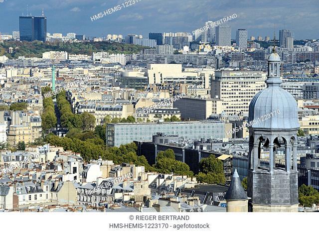 France, Paris, the bell tower of Saint Etienne du Mont church, the Institut du Monde Arabe (Arab World Institute) by architect Jean Nouvel and Architecture...
