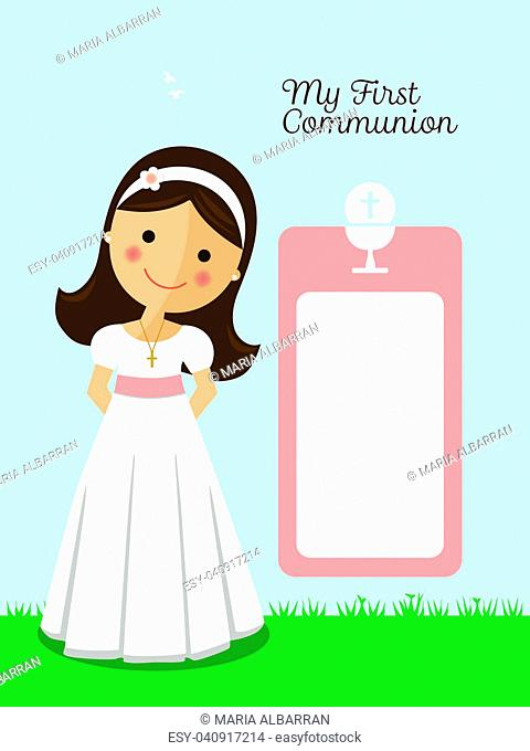 My first communion invitation with message and blue sky background
