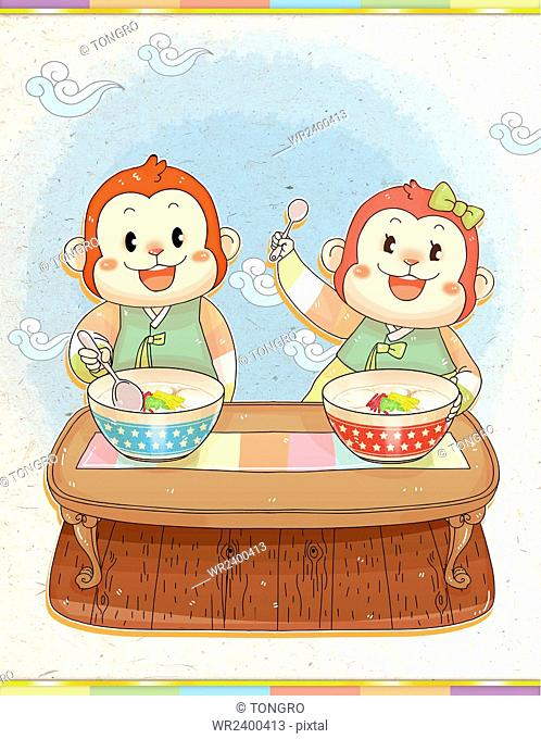 Two smiling monkeys in traditional Korean clothes eating rice cake soup