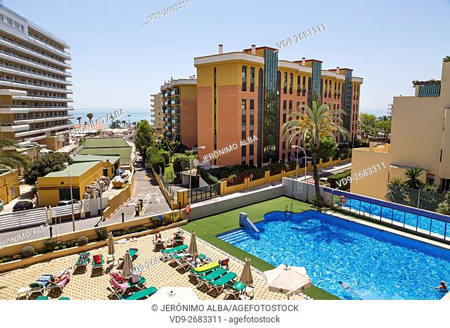 Tourist apartments and hotel. Torremolinos, Malaga province, Costa del Sol, Andalusia, Spain Europe