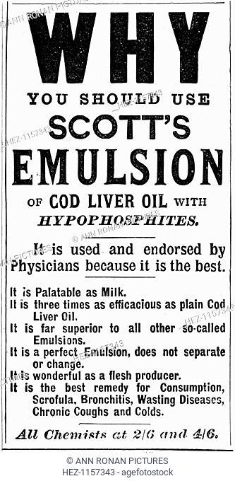 Magazine advertisement for Scott's Emulsion of Cod Liver Oil, 1890