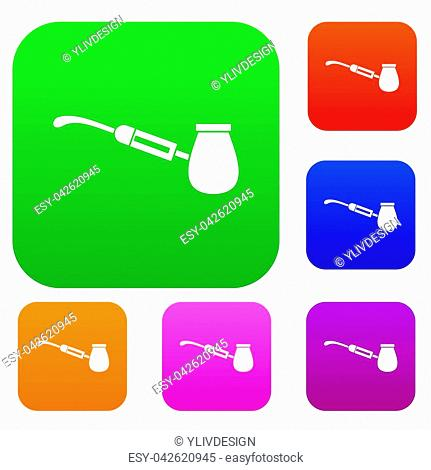 Electronic cigarette with nozzle set icon in different colors isolated illustration. Premium collection