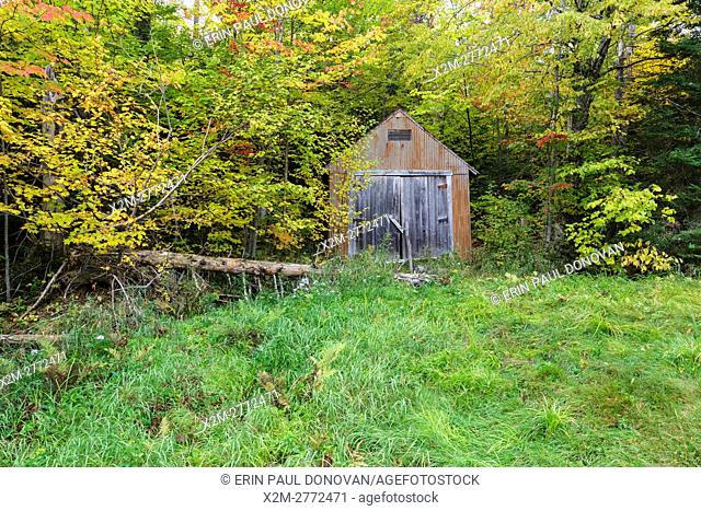 Old shed at the Fabyan Guard Station along the old Jefferson Turnpike (now Old Cherry Mountain Road) in Carroll, New Hampshire during the autumn months