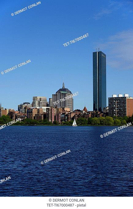 Massachusetts, Boston, Charles river and city waterfront
