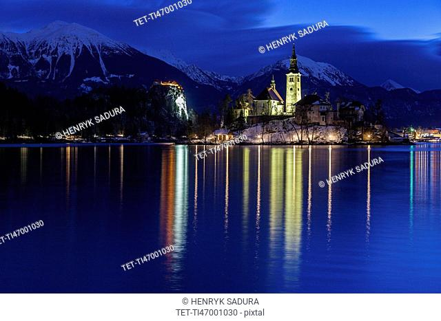 Lake Bled and illuminated Church of the Assumption